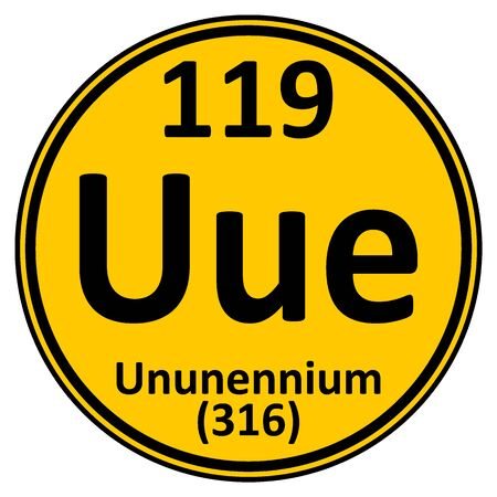 Periodic table element ununennium icon. Vector illustration.
