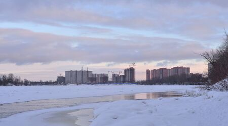 View of Neva River at winter on the outskirts of St. Petersburg, Russia.