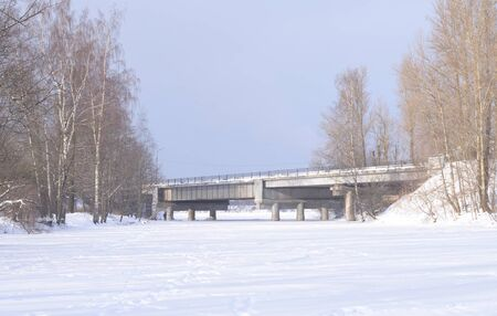 View of the river Slavyanka at winter day, Russia.