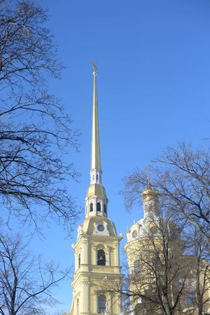 Peter and Paul Cathedral at sunny winter evening in St.Petersburg, Russia.