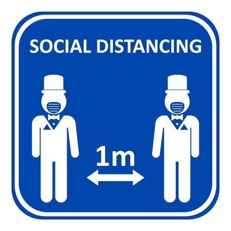 Illustration of social distancing, keep distance to protect from diseases.