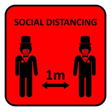 Illustration of social distancing, keep distance to protect from diseases. 矢量图片