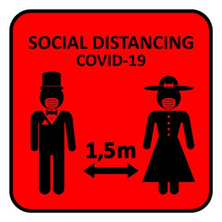 Illustration of social distancing, keep distance to protect from diseases. 矢量图像