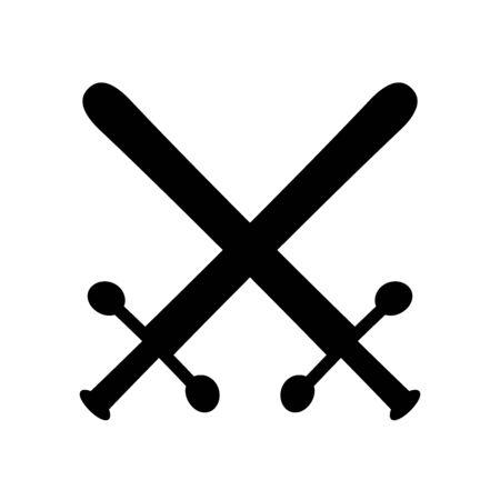 Crossed swords symbol icon on white background. Illustration.