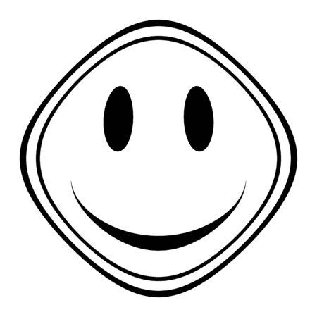 Smile face symbol icon on white background. Illustration.