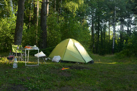 LENINGRAD REGION, RUSSIA - 18 JULY 2020: Camping tent in forest at summer day. Stock Photo