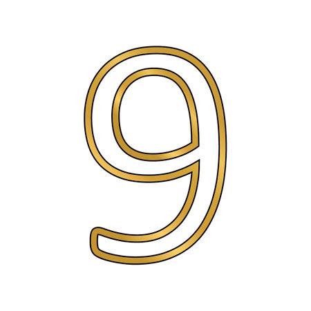 Gold number nine symbol on white background. Vector illustration.