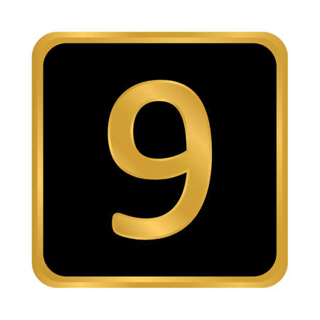 Gold number nine button on white background. Vector illustration.