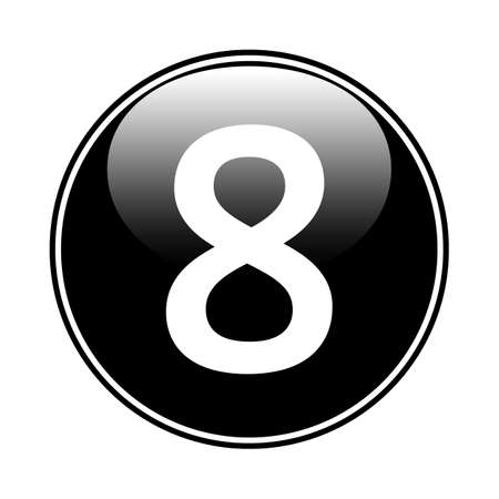 Number eight button on white background. Vector illustration.