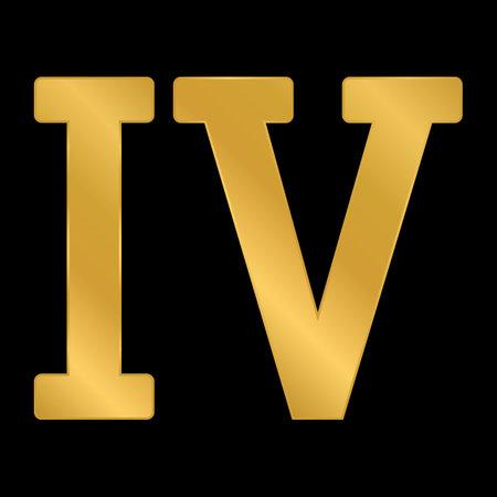 Golden roman numeral four on black background. Vector illustration.