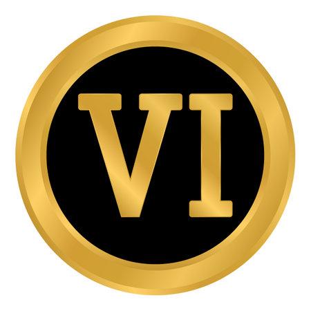 Golden roman numeral six button. Vector illustration.
