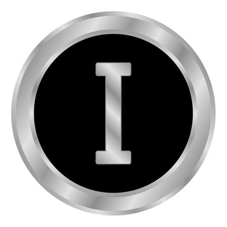 Metal roman numeral one button. Vector illustration.