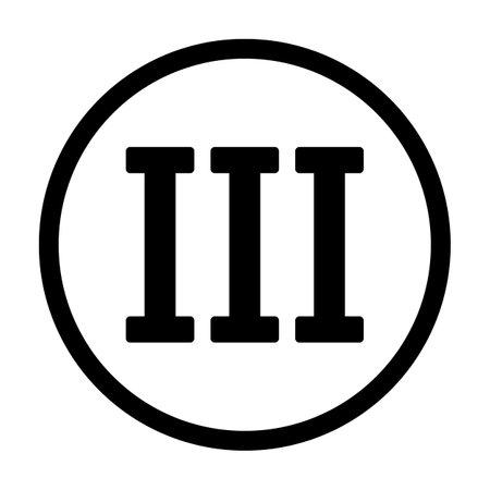 Roman numeral three button on white background. Vector illustration. Vektorové ilustrace