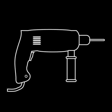 Hammer drill icon on black background. Vector illustration.