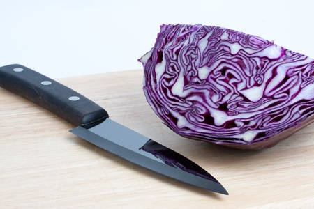 Cabbage and knife at the kitchen
