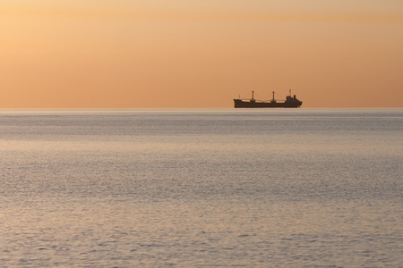 Bulk Ship with containers aerial at the horizon  photo