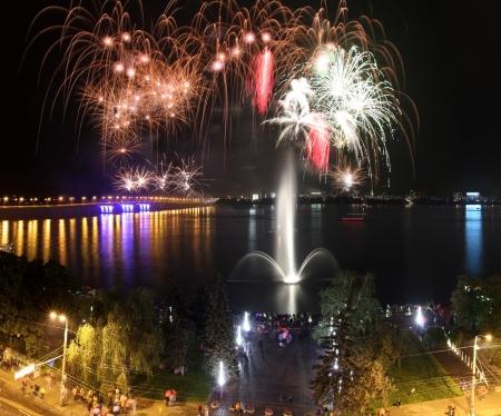 dnepr: Fireworks over the  Dnepr river. Celebration of City day. Square orientation of foto