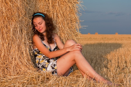 hayloft: Girl in stack of hey