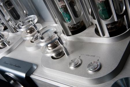 Vacuum tube amplifier isolated on black background photo