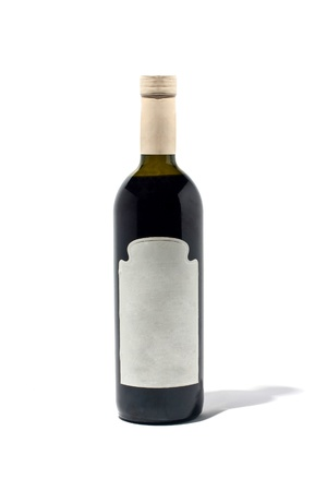 cabarnet: Bottle of red wine isolated on white with shadow