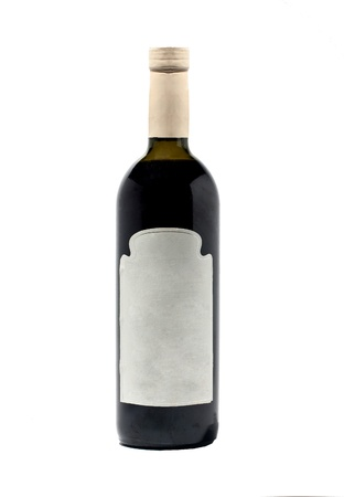cabarnet: Bottle with red wine isolated on white.