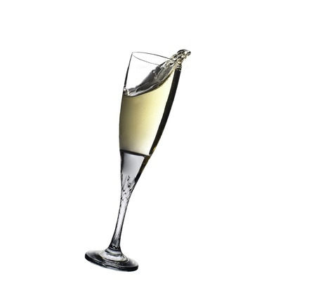 Making a toast with Glass of champagne on white background  Stock Photo