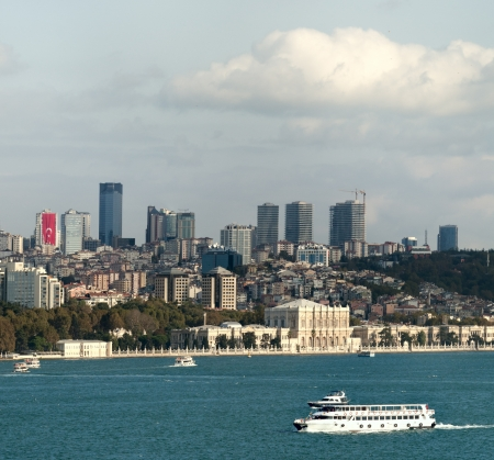 View of Istanbul, Dolmabagce palace and bosphorus from Topkapi palace  Stock Photo