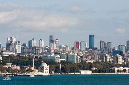 Bosphorus bay and Istanbul financial district view