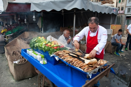 Food retailer selling some local snack at the street  Istanbul, Turkey  10 25 12