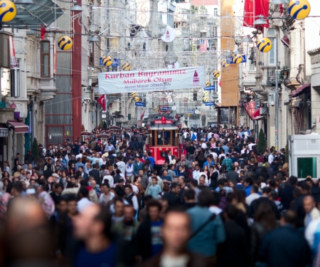 Tram Drives Along at Crowding Avenue Istanbul, Turkey  10 25 12 Editorial