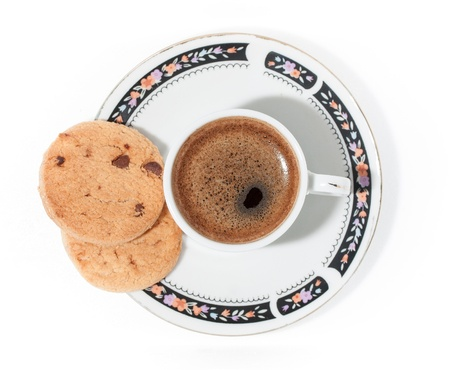A cup of turkish coffe with froth and cookies isolated on white  Square composition Stock Photo