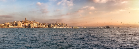Istanbul skyline panorama  Wiev of golden horn, Bosphorus and historical center of the city