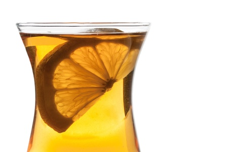 Cup of tea with lemon on white background Stock Photo