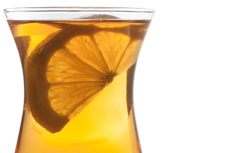 Cup of tea extreme closeup on white background Stock Photo