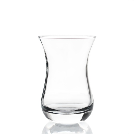 Empty tea glass isolated on white background Stock Photo