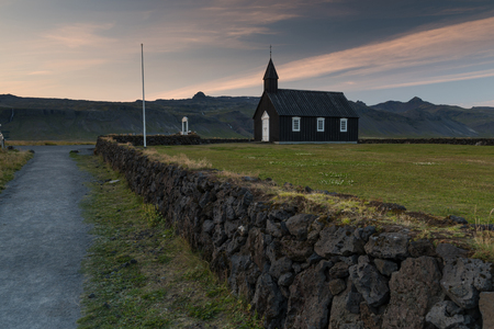 View of Budir church in Iceland during sunset Stock fotó