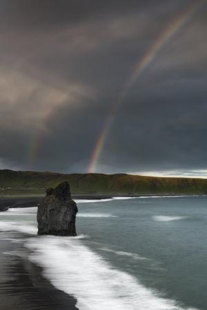 Black Sand Beach Reynisfjara in Iceland. Windy Morning. Ocean Waves. Stock fotó