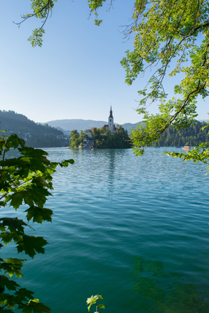 Lake Bled with St. Marys Church of Assumption on small island. Slovenia, Europe. Mountains and valley on background. Areal view from above. Staircase, stairs lead to church. Frame in form of leaves. 免版税图像