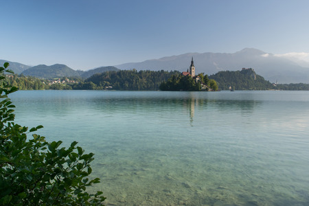 Bled with lake, island and mountains in background, Slovenia, Europe