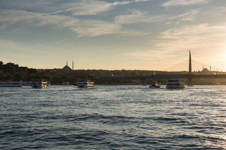 Passenger Ferry in the Bosphorus at sunset, Istanbul, Turkey