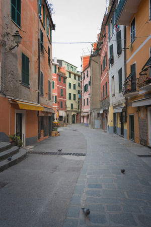 Historic buildings of Vernazza, Liguria, Italy, typical street