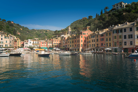 Beautiful bay with colorful houses in Portofino, Liguria, Italy Stock Photo