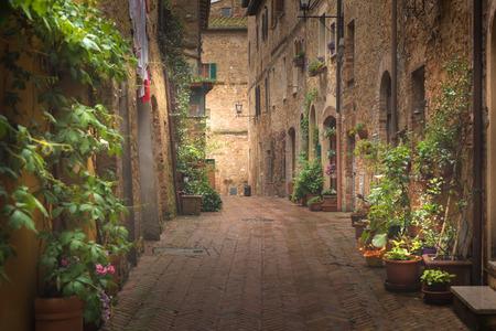 Majestuosa calle decorada tradicionalmente con coloridas flores y casas rústicas rurales, Pienza, Toscana, Italia, Europa