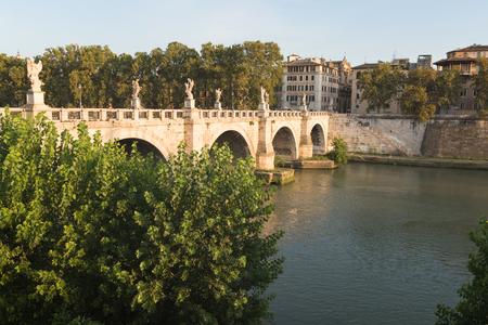 Saint Angelo Bridge over Tiber River in Rome, Italy