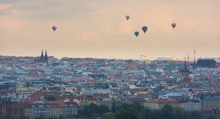 Prague panorama city skyline with Old Town, Prague and baloons on horizon 版權商用圖片