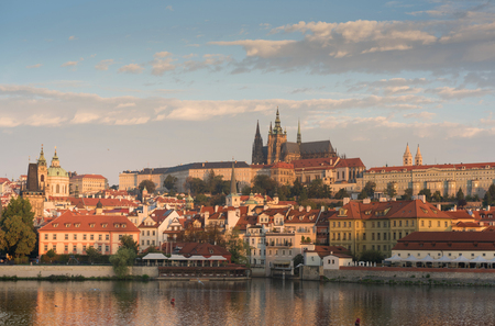 A view of the castle overlooking the Vtlava River in Prague