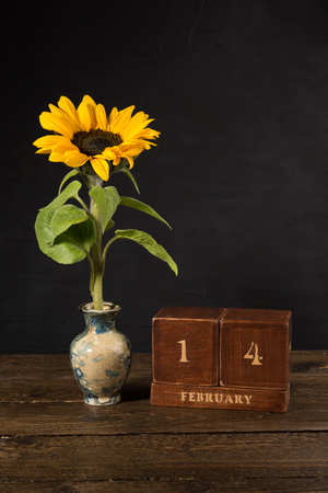 Happy Valentine's Day vintage wooden Perpetual calendar for February 14 on a black background and a sunflower in a small marble vase