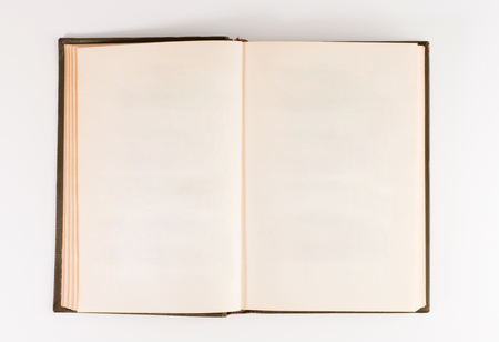 Blank open book isolated, top front view. brown hardcover with black Stockfoto