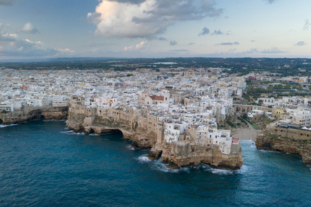 Polignano a Mare, aerial view above the sea, Italy