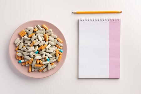 Medical pharmacy concept. Flat lay.